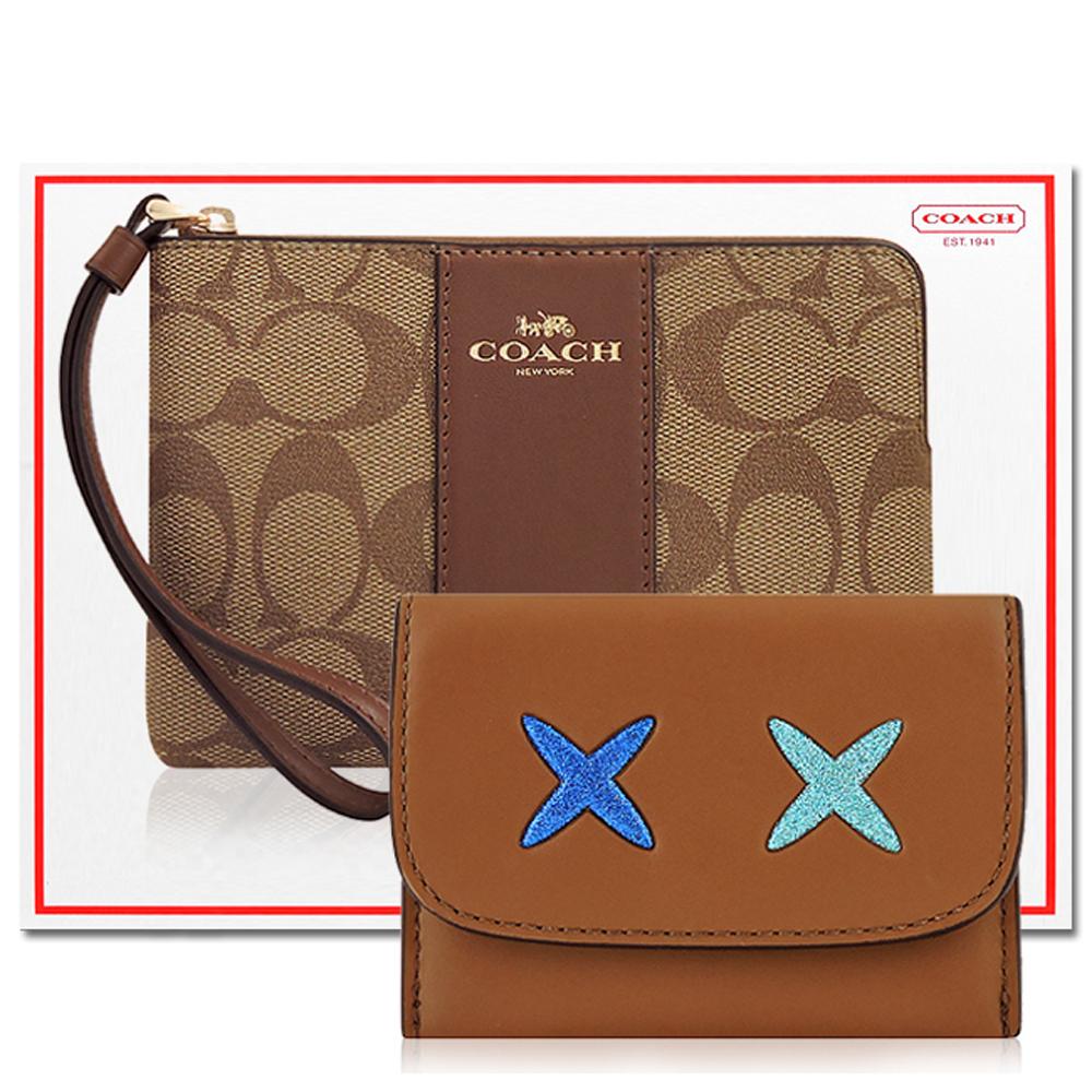 COACH 咖啡色大C PVC手拿包+COACH 焦糖色皮革證件名片短夾COACH