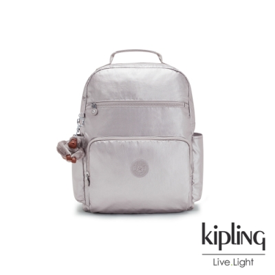 Kipling 知性光澤銀灰大容量媽媽包-SO BABY