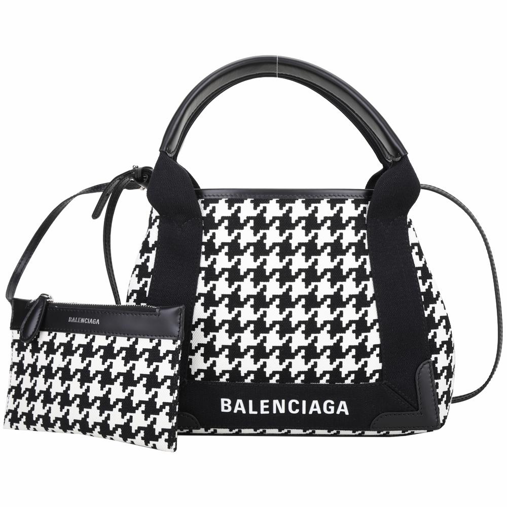 BALENCIAGA Navy Cabas XS 黑白千鳥格帆布手提/肩背包(附萬用包)