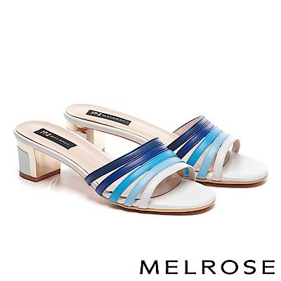 拖鞋 MELROSE 玩味色彩羊皮繫帶粗高跟拖鞋-藍