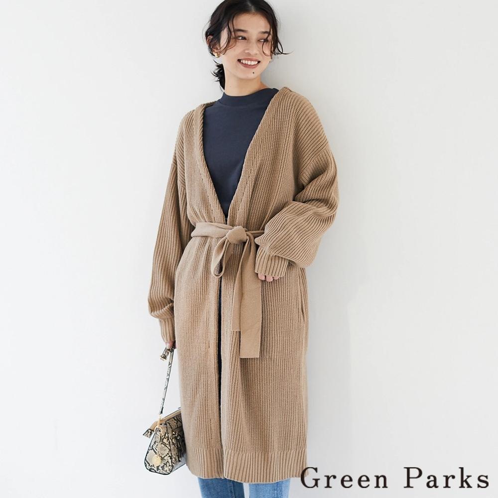 Green Parks 腰際綁結長版開襟針織罩衫