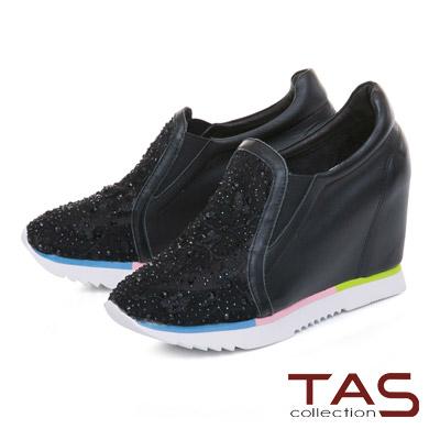 TAS 透膚蕾絲混搭水鑽撞色內增高休閒鞋-個性黑