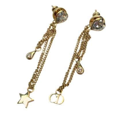 DIOR 經典愛心水鑽星星造型垂墜穿式耳環(金)