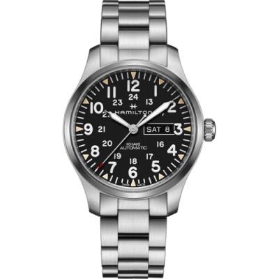 Hamilton 漢米爾頓 KHAKI FIELD 卡其野戰機械手錶-黑x銀/42mm
