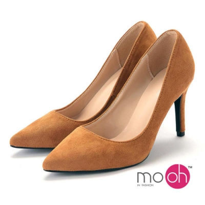 mo.oh-素面尖頭麂皮絨面質感高跟鞋-知性棕