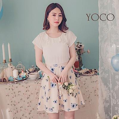 東京著衣-YOCO  法式女孩波浪領印花短袖洋裝-XS.S