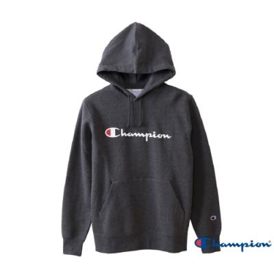Champion Basic 草寫Logo內刷毛大口袋連帽Tee 深灰