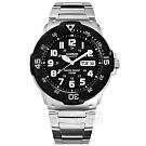 CASIO 卡西歐 立體刻度 三眼計時 橡膠手錶-黑色  MCW-110H-1A  50mm