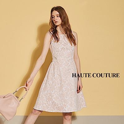 Haute Couture 高定系 精緻3D提花玫瑰金線紗禮服洋裝-燕麥杏
