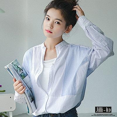 Jilli-ko 韓版條紋拼色襯衫-淺藍