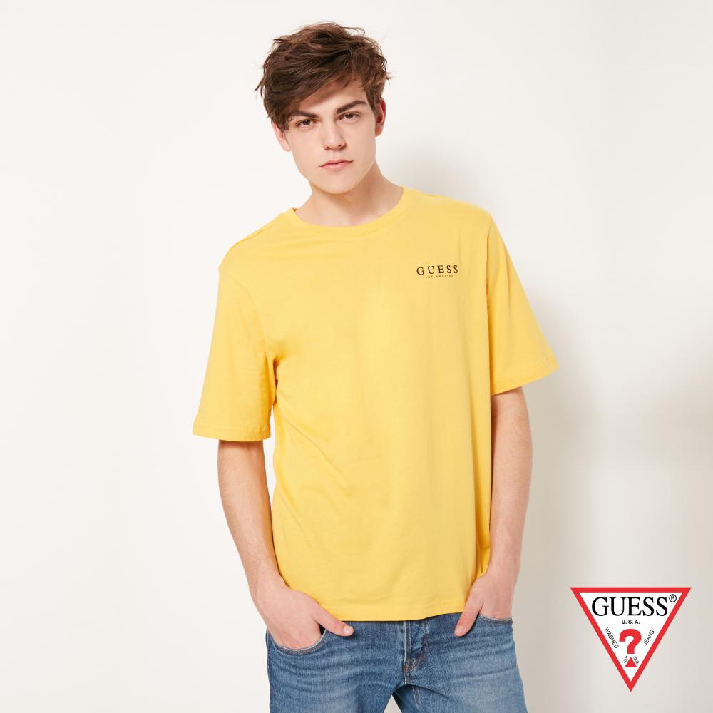 GUESS-男裝-純色背部經典雙LOGO短T,T恤-黃 原價1290