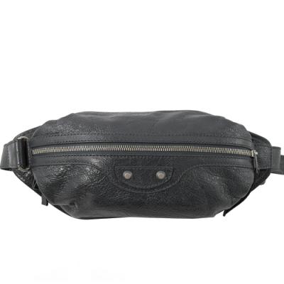 BALENCIAGA 銀釦小羊皮時尚腰包/胸口包(深灰)