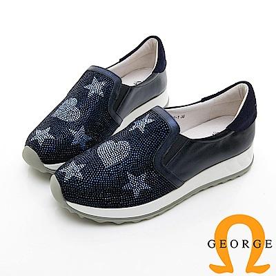 【GEORGE 喬治皮鞋】俏皮水鑽舒適彈力拼接厚底休閒鞋-藍色