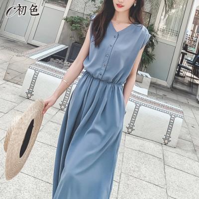 初色  單排扣繫帶連身裙-藍色-(M-XL可選)