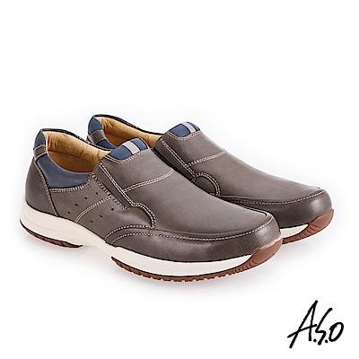 A.S.O 3D超動能 雙色臘感鞋面休閒鞋 灰