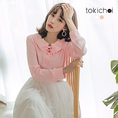 東京著衣-甜美學院交叉綁帶棉質長T-S.M.L(共兩色)