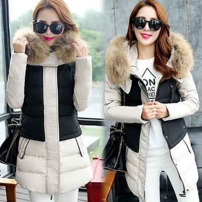 【韓國K.W.】 時尚奢華毛領修身保暖羽絨外套