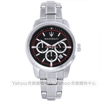 MASERATI 瑪莎拉蒂SUCCESSO三眼計時手錶-黑X銀/44mm