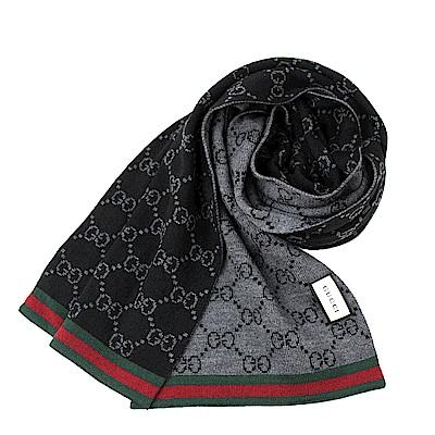 GUCCI  紅綠織帶雙G LOGO 雙長版羔羊毛圍巾-黑.灰
