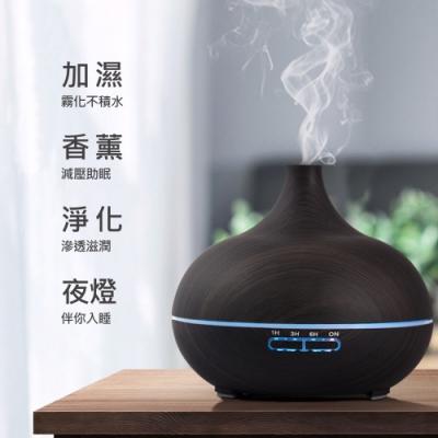 [X-BIKE 晨昌] 木紋薰香機/香氛機/加濕器 可用水溶性精油 噴霧可調/夜燈模式/定時/靜音 550ML XEG-YN001