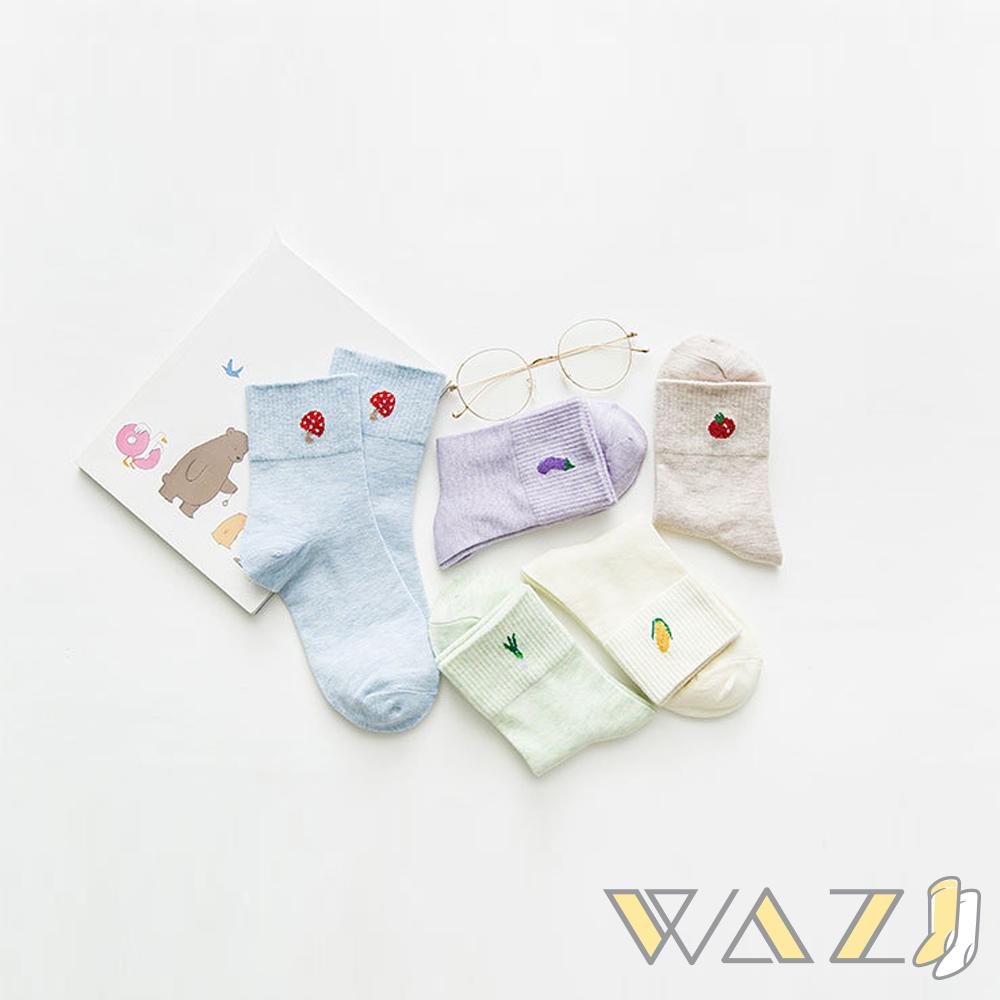 Wazi-閃亮蔬菜水果圖案中筒襪 (1組五入)