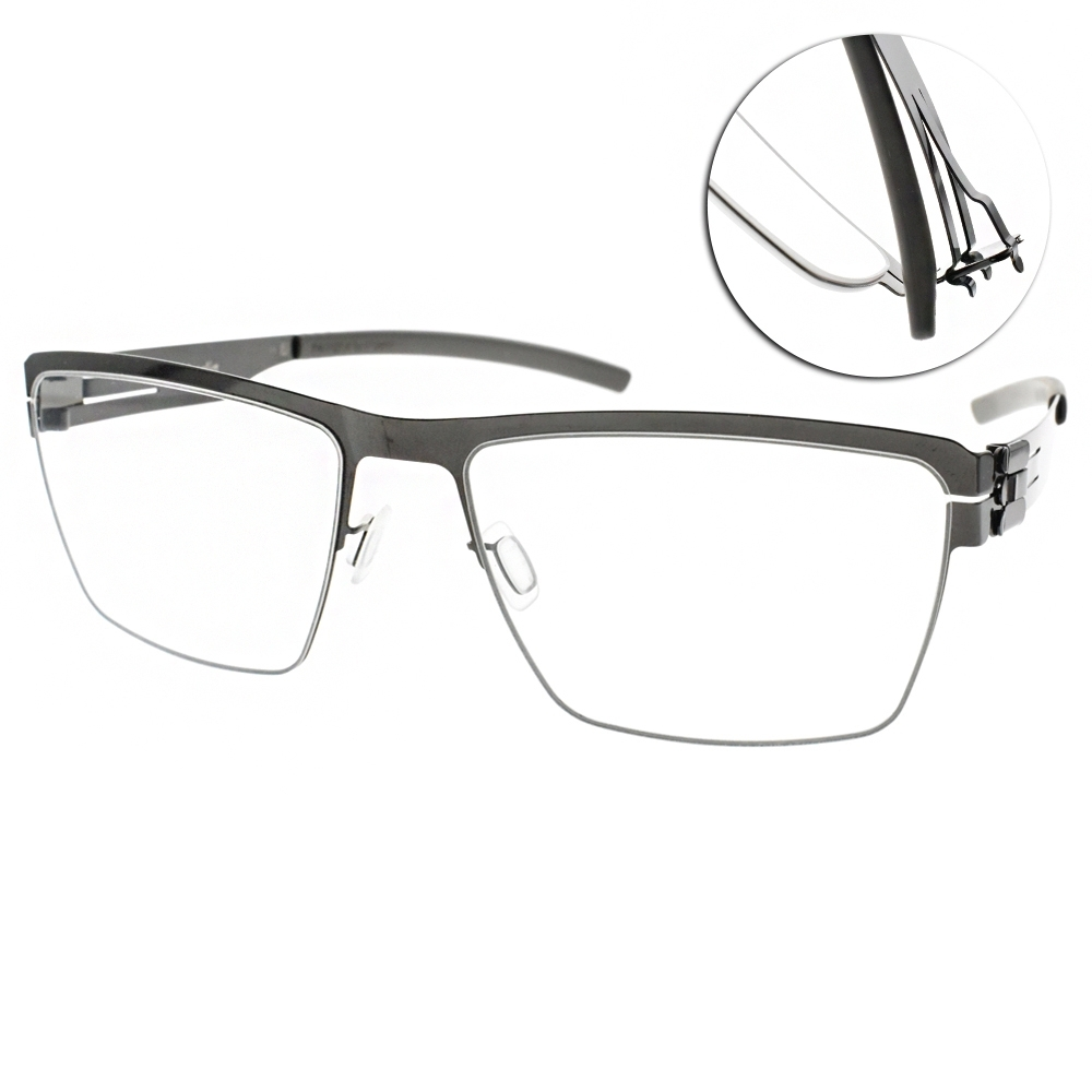 ic!berlin眼鏡 德國薄鋼簡約眉框款/槍黑#FRANCOIS S. GUN METAL