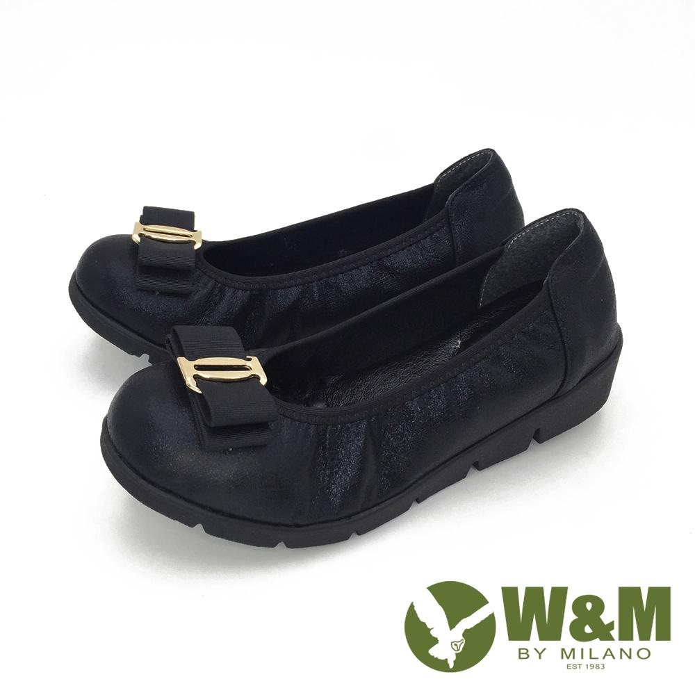 W&M(女) 蝴蝶閃亮 舒適厚底娃娃鞋-黑(另有藍)
