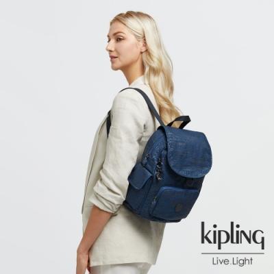 Kipling 高冷月蝕藍拉鍊掀蓋後背包-CITY PACK S