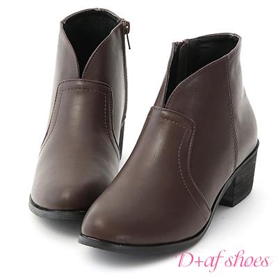 D+AF 自信Look.素面小V口低跟短靴*咖