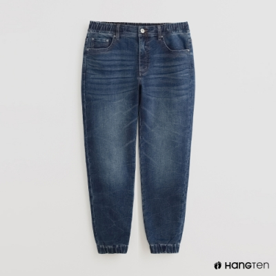 Hang Ten - 男裝 - 褲管縮口造型牛仔長褲 - 藍