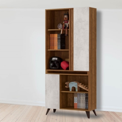 D&T 德泰傢俱 DINO清水模風格2.7尺書櫃 -80x32x181cm