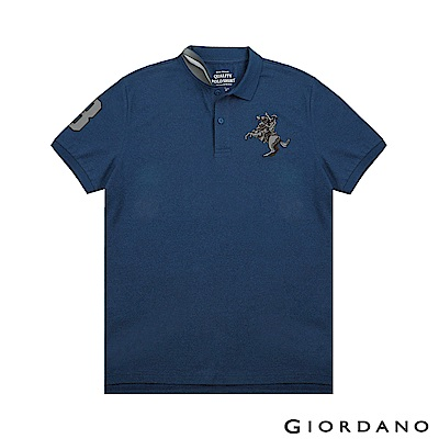 GIORDANO 男裝經典拿破崙撞色刺繡彈力萊卡POLO衫-42 雪花深鯨魚藍