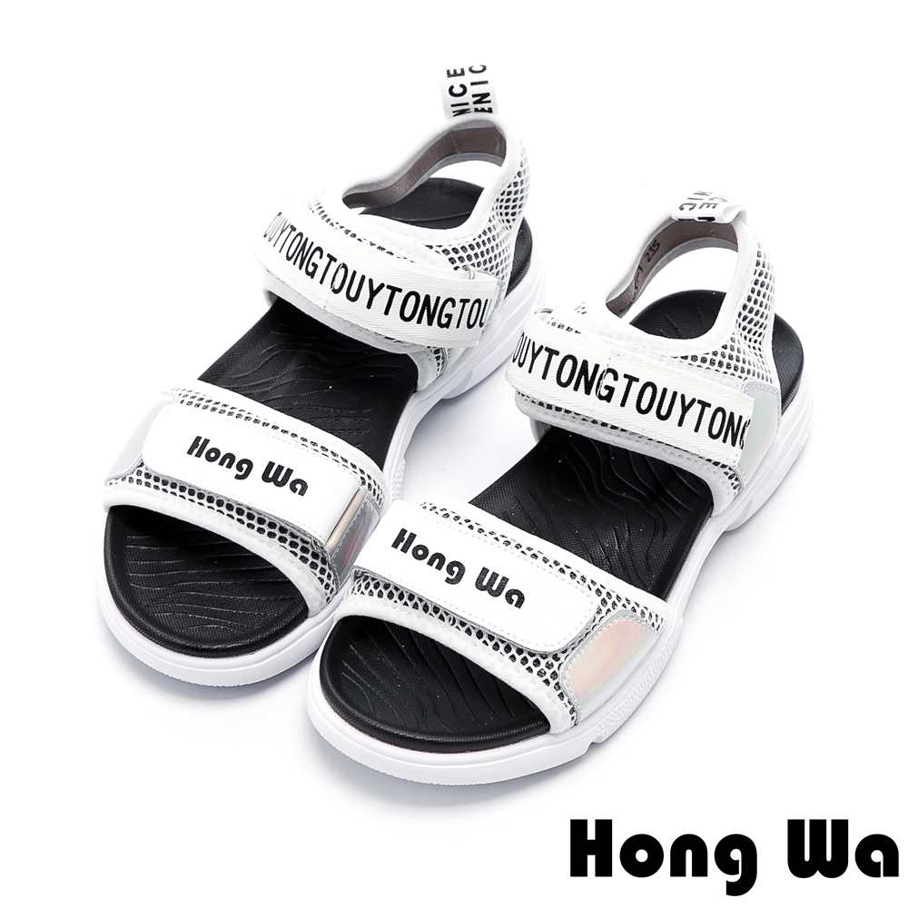 Hong Wa 潮流英文設計防水厚底涼鞋 - 白