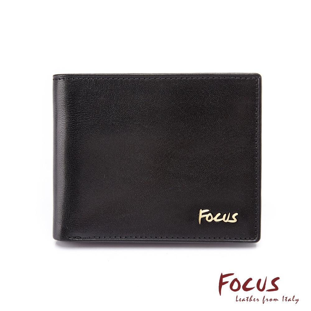 FOCUS原皮時尚黑簡約左右掀男短夾(FGB2206)