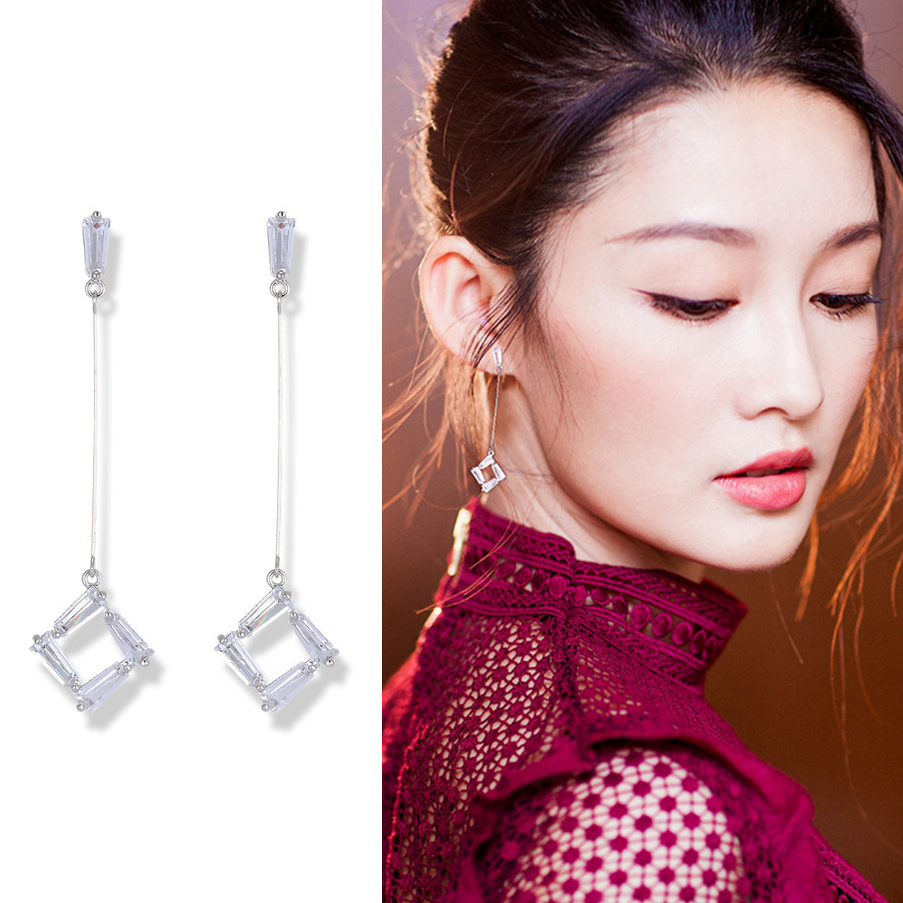 梨花HaNA 無耳洞法式美妍氣質水晶直線垂墜耳環夾式