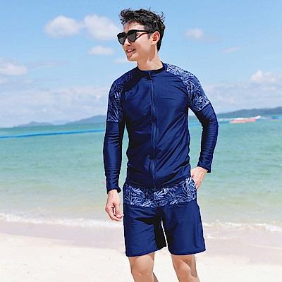 Biki比基尼妮泳衣 明朗二件式浮潛衣沖浪服防晒長袖泳衣(M-XL)