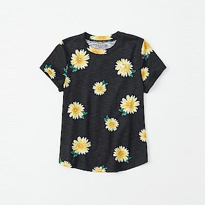 麋鹿 AF A&F 經典電繡小鹿夏日風情短袖T恤(女青年款)-黑色