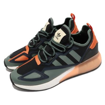 adidas 休閒鞋 ZX 2K Boost 運動 男鞋 海外限定 套腳 球鞋穿搭 舒適中底 黑 綠 橘 FZ0218