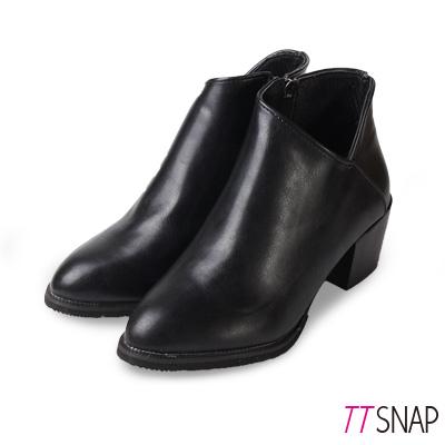 TTSNAP短靴-時尚V口拉鍊中跟踝靴 黑