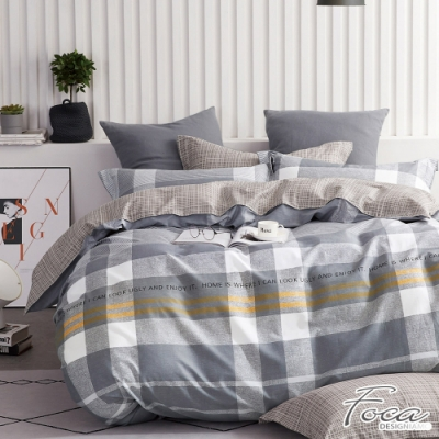 FOCA布魯斯-特大-韓風設計100%精梳純棉四件式兩用被床包組