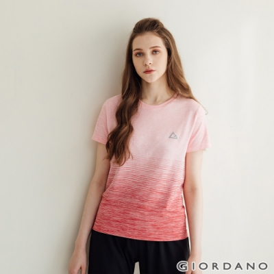GIORDANO 女裝G-MOTION無縫涼感短袖T恤 - 32 仿段彩蘭花粉