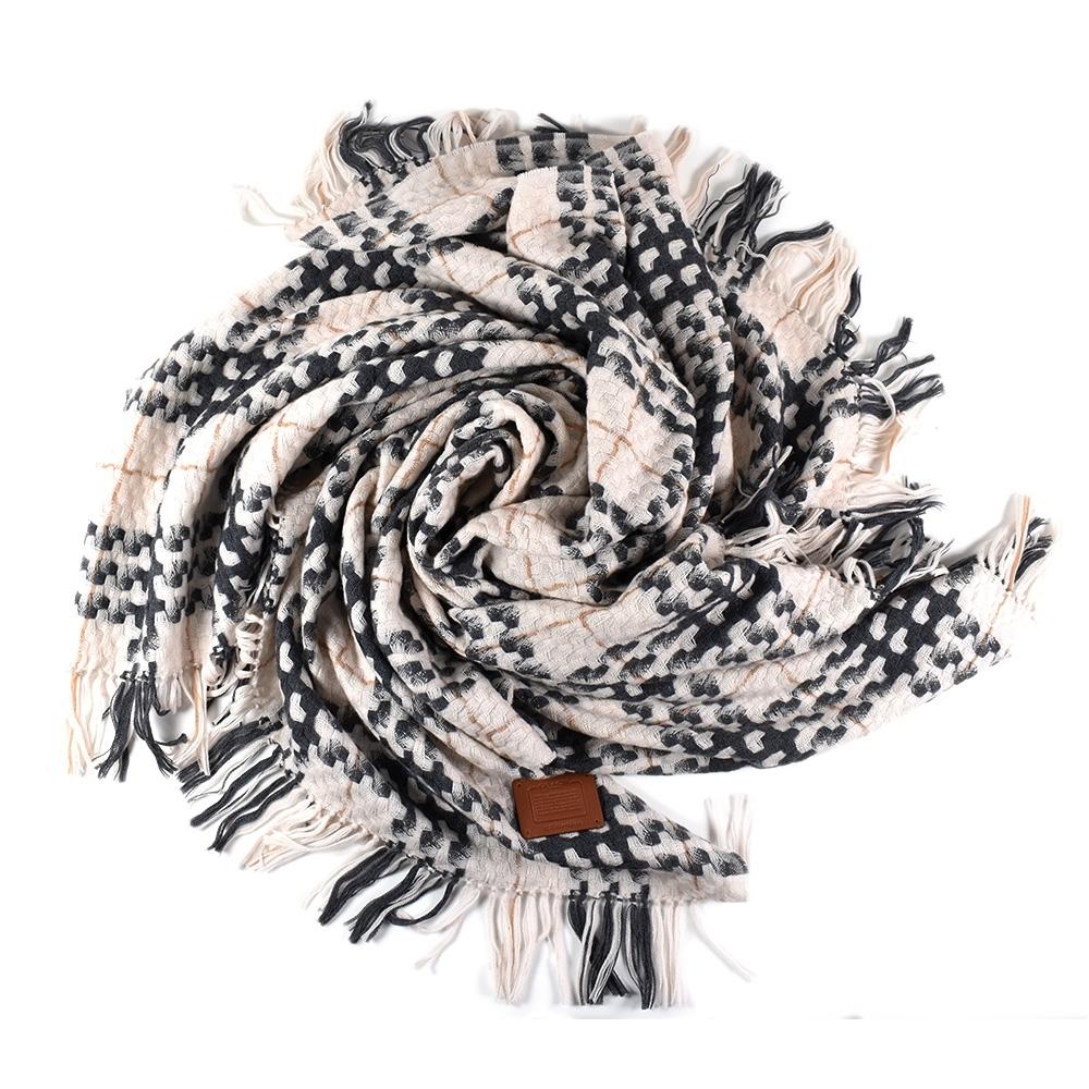 COACH 厚實編織格紋羊毛流蘇披肩/方巾-灰/米