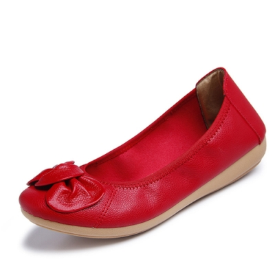 韓國KW美鞋館-簡約休閒大蝴蝶平底鞋-紅色