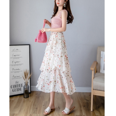 2F韓衣-簡約優雅垂順荷葉邊造型裙-2色-(F)