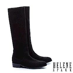 長靴 HELENE SPARK 極簡百搭素面彈力麂布粗跟長靴-黑