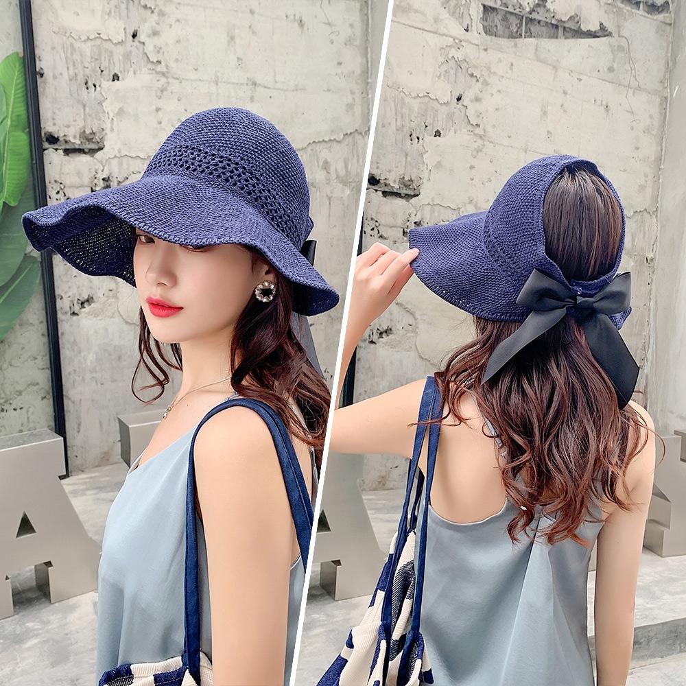 【KISSDIAMOND】大帽檐可折疊編織麻棉遮陽帽(防曬/全防護/好收納/藏藍)