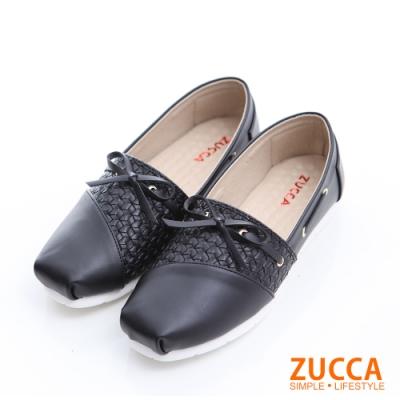 ZUCCA-綁帶朵結平底懶人鞋-黑-z6301bk