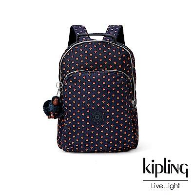 Kipling 紅黃幾何圖騰雙層後背包-GOULDI