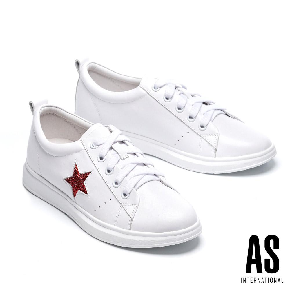 休閒鞋 AS 潮流閃鑽星星全真皮綁帶厚底休閒鞋-白