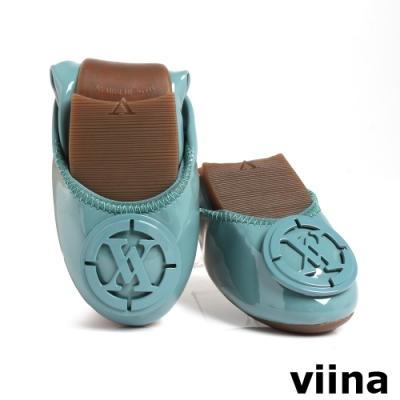 viina 經典LOGO鏡面釦漆皮摺疊娃娃鞋-藍綠
